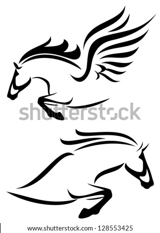 raster - black and white outlines of jumping horse and pegasus (vector version is available in my portfolio) - stock photo