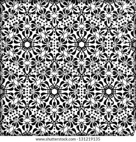 raster black floral pattern background - stock photo