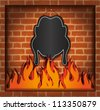 raster blackboard chicken fireplace grill blank - stock photo