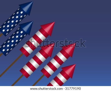 Raster Bottle Rockets in Flag Formation