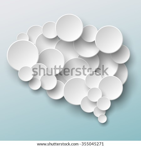 Raster brain cloud made of paper circles over blue gradient background - stock photo