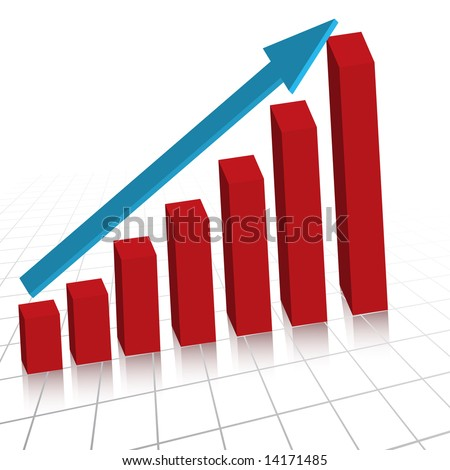Raster - Business profit growth graph chart with reflection