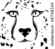 Raster cheetah face tribal design - stock photo