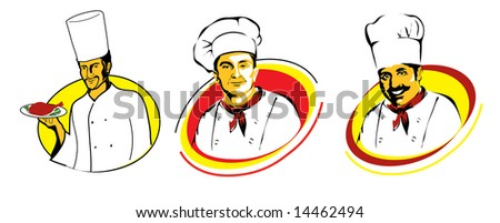 RASTER chief cook icons - stock photo