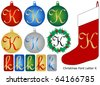 Raster Christmas Font Letter K - stock photo