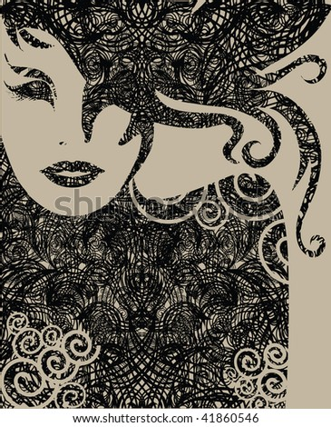 "RASTER closeup Decorative grunge portrait of woman with long hair (From my big ""Vintage woman collection "") - stock photo"