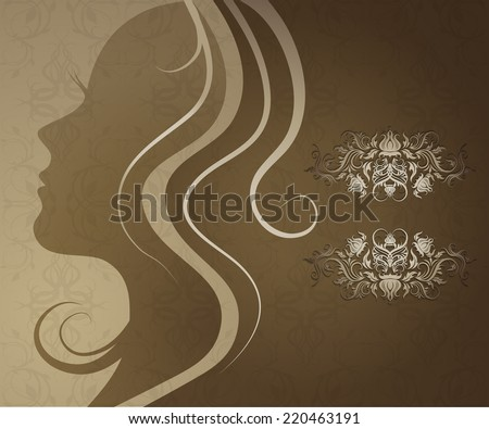 RASTER Closeup decorative vintage woman with beautiful hair - stock photo