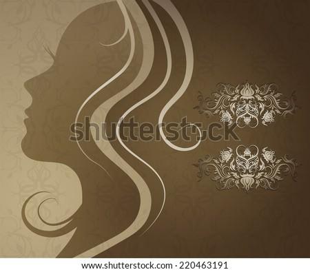 RASTER Closeup decorative vintage woman with beautiful hair - stock photo