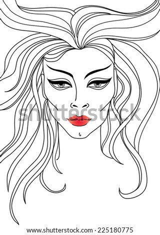 RASTER closeup portrait of woman with red lips and long hair - stock photo