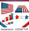 raster collection of 3D design elements with American flag theme - stock vector