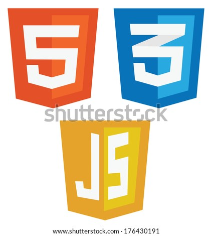 raster collection of web development shield signs: html5, css3 and javascript. isolated icons on white background - stock photo