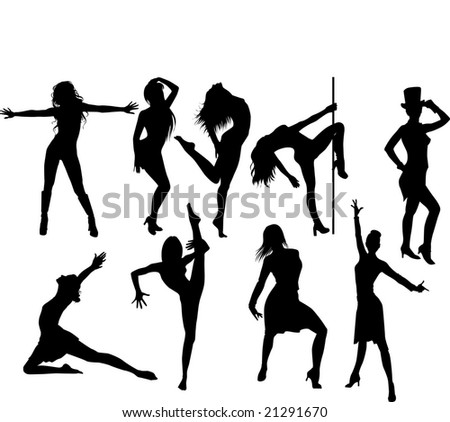 RASTER collection of woman dancing striptease