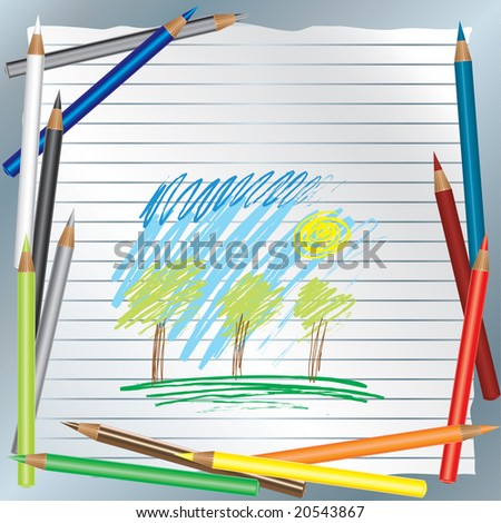 RASTER color pencils background - stock photo