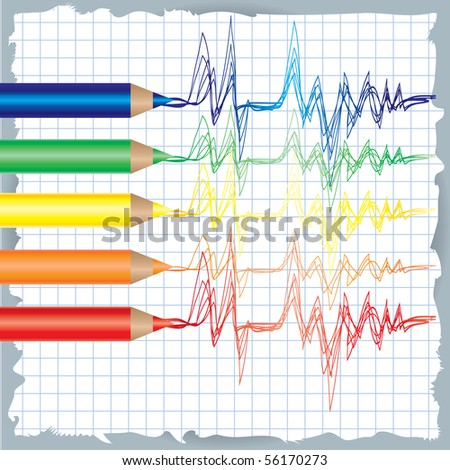 RASTER colorful background with drawing of cardiogram and color pencils - stock photo