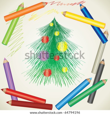 RASTER colorful background with drawing of Christmas tree and color pencils - stock photo