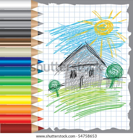 RASTER colorful background with drawing of house and color pencils - stock photo