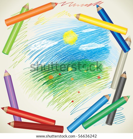 RASTER colorful background with drawing of summer landscape and color pencils - stock photo