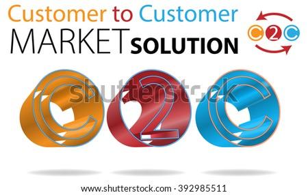 Raster Concept Customer to Customer Market Solution Illustration - stock photo