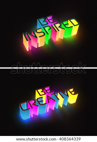 Raster Concept 3d Glowing Text With Affirmation Messages - stock photo