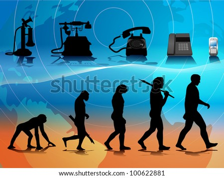 raster conceptual illustration comparing human and phone evolution, vector version available - stock photo