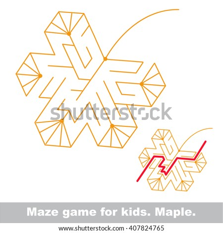 Raster copy. Autumn maze game. Search the way. Help to find the solution. Kid labyrinth game.  - stock photo