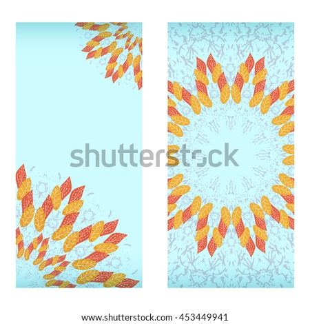 Raster copy. Autumn sale. Design template with leaf mandala. For flayer, brochure, coupon, ticket, banner, invitation, rack card or web design.  - stock photo