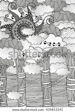 Raster copy. Black and white abstract fantasy picture. Old rustic fence. Wind, clouds, sun. Eco theme. Pattern for coloring book. Hand-drawn, ethnic, retro, doodle, zentangle, tribal design element. - stock photo
