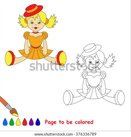 Raster copy. Blonde toy doll in orange dress and red hat. Kid game. Coloring book. Page to be color. For children playing. - stock photo