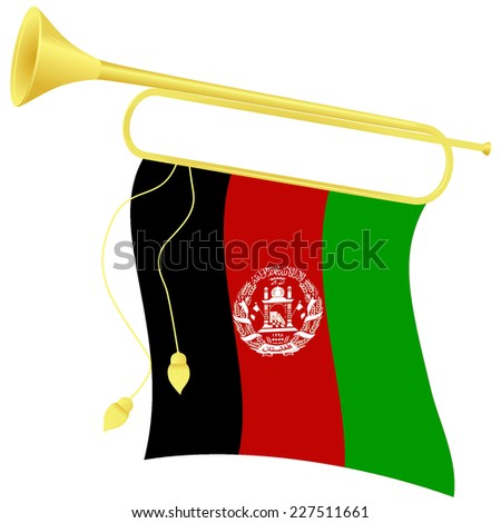 Raster copy illustration bugle with a flag Afghanistan - stock photo