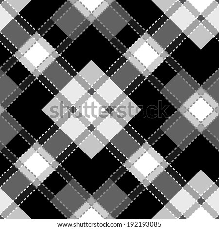 Raster copy of  seamless tartan and striped patterns in classic style. - stock photo