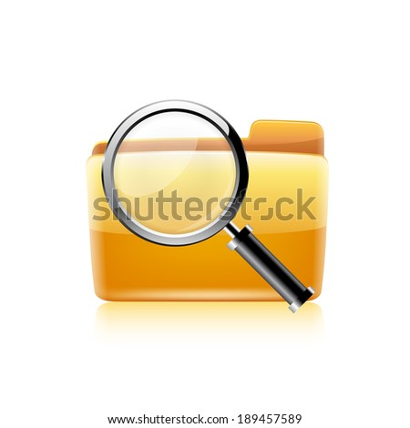 Raster copy of search concept with yellow folder icon and magnifying glass - stock photo
