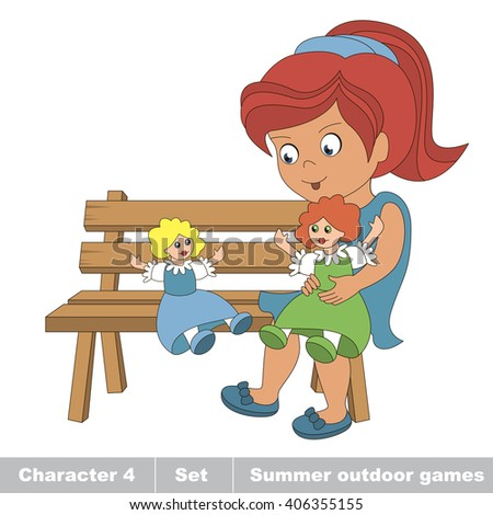 Raster copy. One young red hair girl in blue dress play with her toy doll on the bench. Cartoon character playing baby. Summer outdoor hobby games for children. Kids summer games. - stock photo