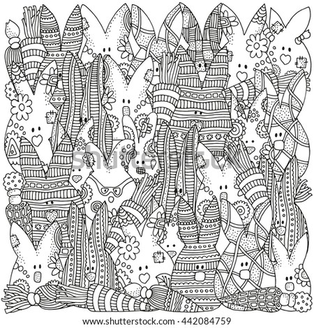 zentangle raster copy pattern for coloring book how many rabbits in the picture hand - Zentangle Coloring Book