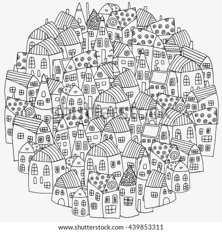 Raster copy. Pattern for coloring book with artistically houses. Street background. Made by trace from sketch. Ink pen. Zentangle. Black and white adult coloring book page. - stock photo