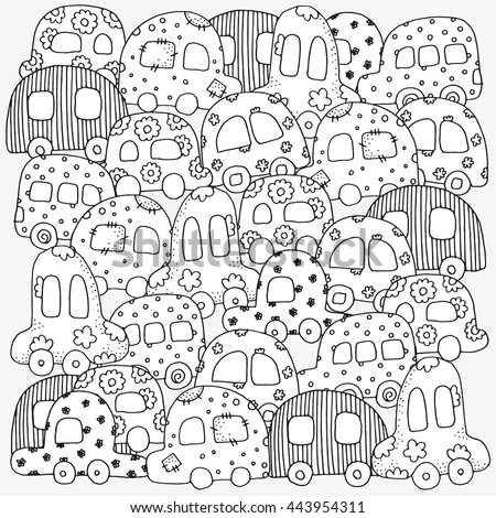 Raster copy. Pattern for coloring book with doodle style hand drawn kids cars. Magic City. Made by trace from sketch. Ink pen. Zentangle. Black and white. Coloring book page for adult and children.  - stock photo