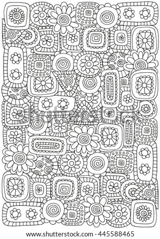 Raster copy. Pattern for Coloring Book with flowers and abstract figures. A4 size.  Ethnic, floral, retro, doodle, tribal design element. Black and white.  Coloring Book page for adult and children.