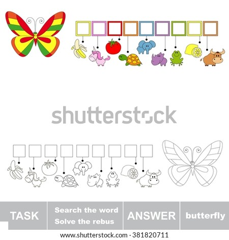 Raster copy. Rebus kid game. Search the word BUTTERFLY. Find hidden word. Task and answer. Game for children. - stock photo