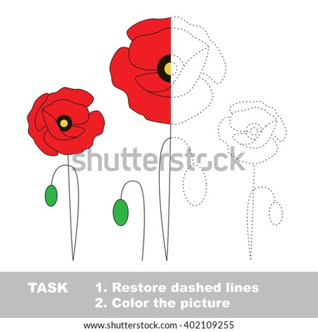 Raster copy. Restore dashed line and color the picture. Worksheet to be colored. - stock photo