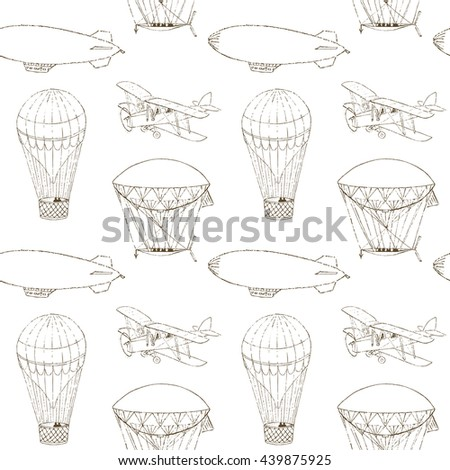 Raster copy. Seamless pattern with hand drawn aeronautic transport. Vintage texture for web, print, kids wallpaper, textile, wrapping. Monochrome illustration. - stock photo
