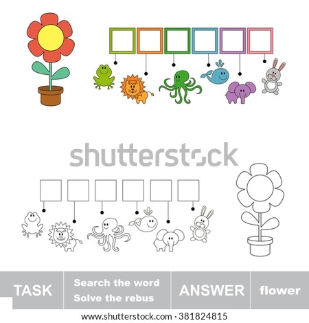 Raster copy. Search the word FLOWER. Find hidden word. Task and answer. Game for children. Rebus kid riddle game. - stock photo