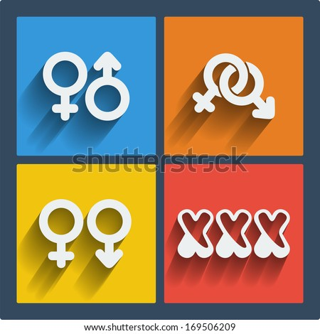 Raster copy. Set of 4 web and mobile gender icons in flat design. Symbols of man, woman, male, female, boy, girl, couple, xxx - stock photo