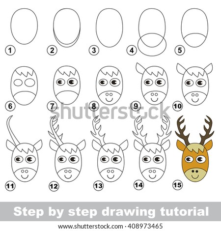 Raster copy. Step by step drawing tutorial. Visual game for kids. How to draw a Deer Head - stock photo