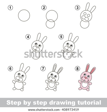 Raster copy. Step by step drawing tutorial. Visual game for kids. How to draw a Little Rabbit - stock photo
