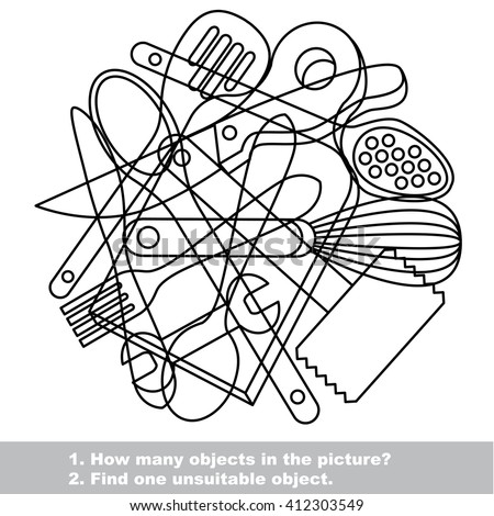 Raster copy. Utensils mishmash set outlined to be colored.  Find all hidden objects on the picture.  - stock photo