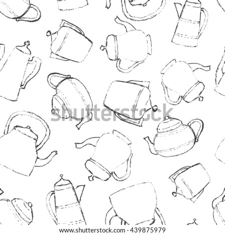 Raster copy. Vintage teapots. Sketch illustration. Seamless pattern for surface texture, wrapping or wallpaper.