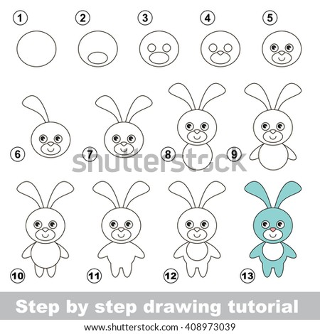 Raster copy. Visual game for kids. How to draw a Funny Bunny - stock photo