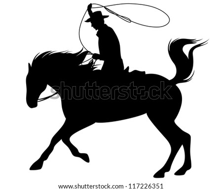 raster - cowboy riding a horse and throwing lasso fine silhouette - black outline over white (vector version is available in my portfolio)