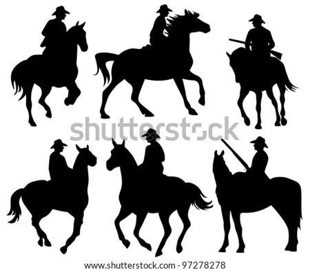 raster - cowboy riding a horse - set of black wild west theme silhouettes on white  (vector version is available in my portfolio)