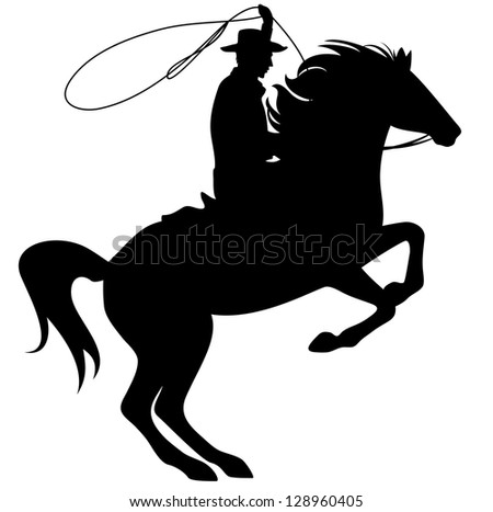 raster - cowboy throwing lasso riding rearing up horse - black silhouette over white  (vector version is available in my portfolio) - stock photo