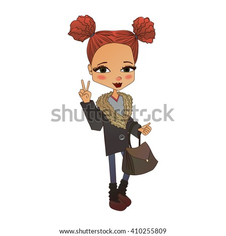Raster Cute Colorful Fashion Kid Illustration with a Cute Fashion Kid Wearing Stylish Clothes, Pretty School Girl for Fashion Magazines, Books Illustration or Web Design - stock photo